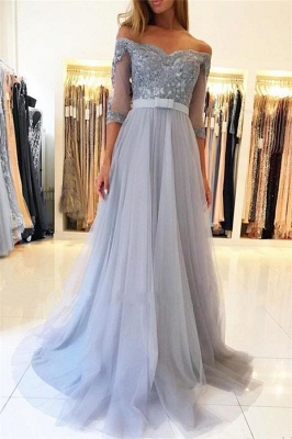 Lighter Blue Evening Dresses Long Cheap | Prom dresses with sleeves_1