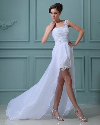 White wedding dresses short long with lace one shoulder sheath dress wedding dresses with train_5