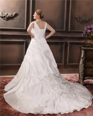 Beautiful Wedding Dresses Large Size Straps A Line Taffeta Wedding Gowns Oversized_5