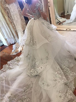 Luxury Wedding Dresses With Sleeves Wedding Dresses A Line Cheap_2