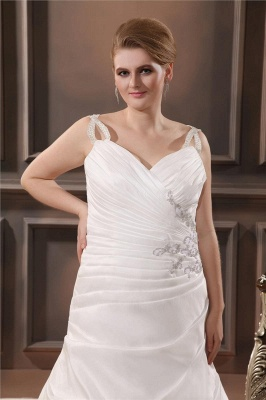 Beautiful Wedding Dresses Large Size Straps A Line Taffeta Wedding Gowns Oversized_2