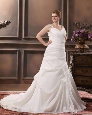 Beautiful Wedding Dresses Large Size Straps A Line Taffeta Wedding Gowns Oversized_3