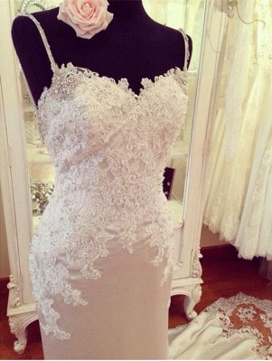 Elegant Wedding Dress White Lace Mermaid Backless Bridal Wedding Dresses Online_2