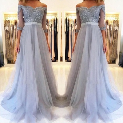 Lighter Blue Evening Dresses Long Cheap | Prom dresses with sleeves_4