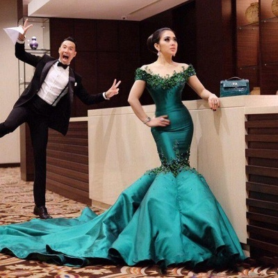 Turquoise Evening Dresses Long Cheap With Sleeves Mermaid Evening Wear Prom Dresses_2