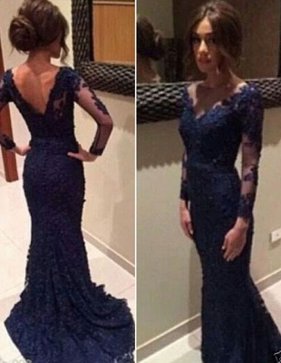Navy Blue Evening Dresses Long Sleeves Lace Mermaid Evening Wear Prom Dresses Cheap_3