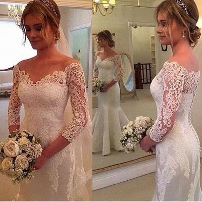Weiß Brautkleider Lang Ärmel Mit Spitze Herz Hochzeitskleider Brautmoden_2