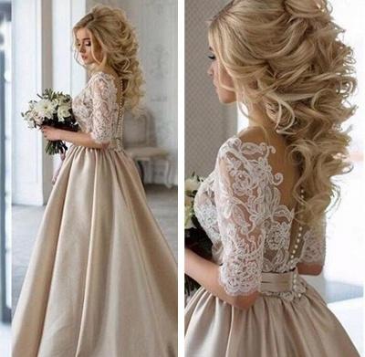 Modern Brautkleider Mit Ärmel Spitze Hochzeitskleid A Linie_2