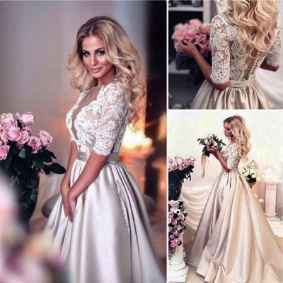 Modern Brautkleider Mit Ärmel Spitze Hochzeitskleid A Linie_5
