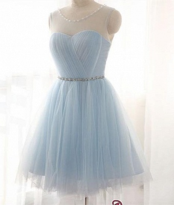 Blue Short Prom Dresses Tulle Knee Length Cocktail Dresses Evening Wear_2