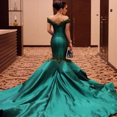 Turquoise Evening Dresses Long Cheap With Sleeves Mermaid Evening Wear Prom Dresses_3