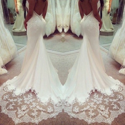 Elegant Wedding Dress White Lace Mermaid Backless Bridal Wedding Dresses Online_3