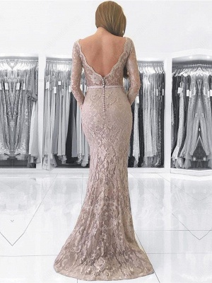 Fashion Lace Evening Dresses Long Sleeves Mermaid Aiball Dresses Prom Dresses Online_2
