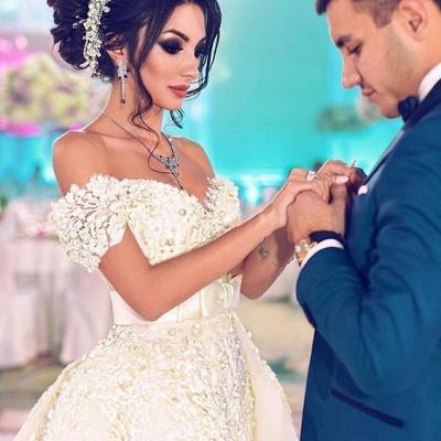 Designer Hochzeitskleider Weiß Spitze A Linie Brautkleider Günstig Kaufen_3