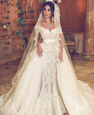 Designer Hochzeitskleider Weiß Spitze A Linie Brautkleider Günstig Kaufen_1