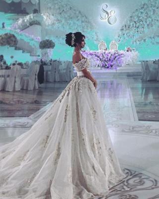 Designer Hochzeitskleider Weiß Spitze A Linie Brautkleider Günstig Kaufen_5