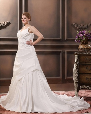 Beautiful Wedding Dresses Large Size Straps A Line Taffeta Wedding Gowns Oversized_4