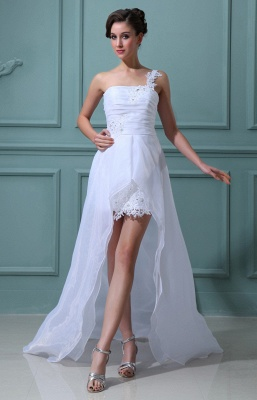 White wedding dresses short long with lace one shoulder sheath dress wedding dresses with train_2