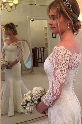 Weiß Brautkleider Lang Ärmel Mit Spitze Herz Hochzeitskleider Brautmoden_1