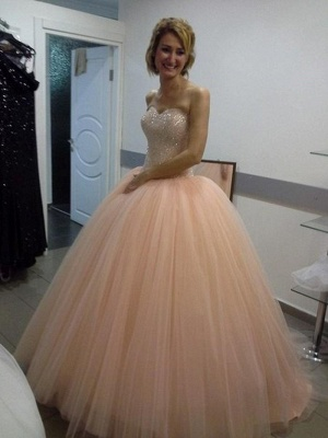 Apricot Quinceanera Dresses Long Cheap Princess Beaded Evening Dresses Prom Dresses_1