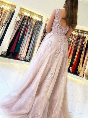 Sexy Evening Dresses Long Lace Tulle Floor Length Evening Wear Prom Dresses_2