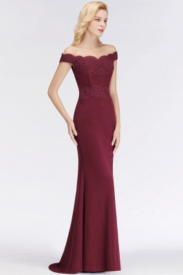 Wine red simple evening dresses long cheap with lace prom dresses online_13
