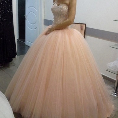 Apricot Quinceanera Dresses Long Cheap Princess Beaded Evening Dresses Prom Dresses_2