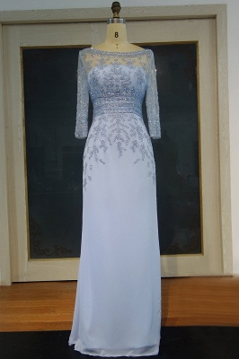 Elegant Evening Dresses With Sleeves Blue Chiffon Floor Length Prom Dresses Evening Wear_1