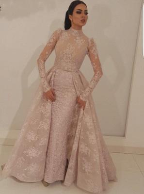 Elegante Rosa Abendkleider Mit Ärmel | Abendmoden Spitzen Online_1