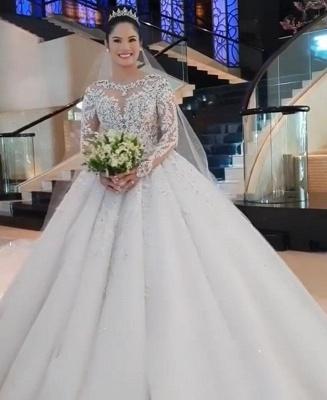 Luxus Brautkleid Mit Ärmel | A Linie Spitze Hochzeitskleider Online_5