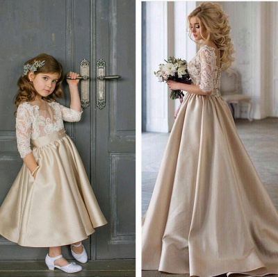 Elegante Blumenmädchenkleider mit Ärmel Kleider für Kinder Günstig Online_2