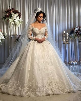 Luxus Brautkleider Prinzessin | Spitze Hochzeitskleider Mit Ärmel_2