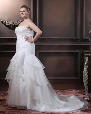 Weiß Brautkleider Übergroße Organza Meerjungfrau Hochzeitskleider Große Größe Nach Mäßig_4