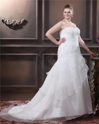 Weiß Brautkleider Übergroße Organza Meerjungfrau Hochzeitskleider Große Größe Nach Mäßig_3