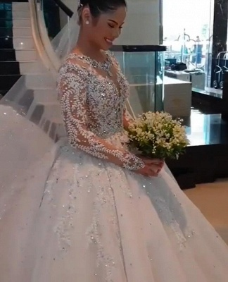 Luxury wedding dress with sleeves | A line lace wedding dresses online_3