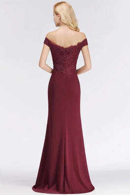 Wine red simple evening dresses long cheap with lace prom dresses online_12