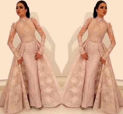 Elegante Rosa Abendkleider Mit Ärmel | Abendmoden Spitzen Online_2