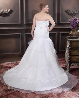Weiß Brautkleider Übergroße Organza Meerjungfrau Hochzeitskleider Große Größe Nach Mäßig_5