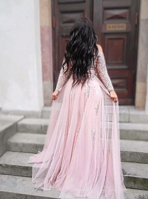 Elegant pink evening dresses with sleeves lace evening wear prom dresses cheap_2