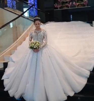 Luxus Brautkleid Mit Ärmel | A Linie Spitze Hochzeitskleider Online_1