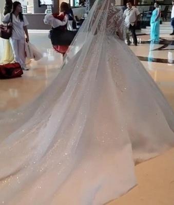 Luxus Brautkleid Mit Ärmel | A Linie Spitze Hochzeitskleider Online_4