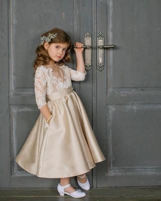 Elegante Blumenmädchenkleider mit Ärmel Kleider für Kinder Günstig Online_1