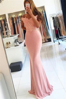 Evening Dresses Long Pink With Lace Off Shoulder Mermaid Evening Wear Prom Dresses_1