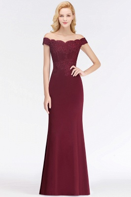 Wine red simple evening dresses long cheap with lace prom dresses online_11