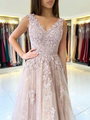 Sexy Evening Dresses Long Lace Tulle Floor Length Evening Wear Prom Dresses_1