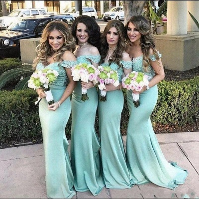 Mint Green Bridesmaid Dresses Long With Lace Mermaid Dresses For Bridesmaids_2