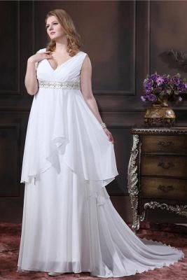 Brautkleider Standesamt Große Größen Weiß Chiffon Träger Übergröße Hochzeitskleider_1