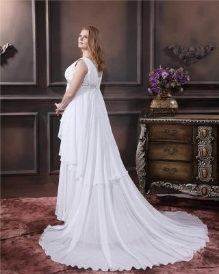 Brautkleider Standesamt Große Größen Weiß Chiffon Träger Übergröße Hochzeitskleider_4