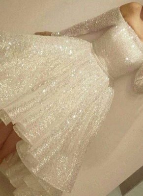 White Evening Dresses Sequins Short Long Evening Wear Cheap Online_1