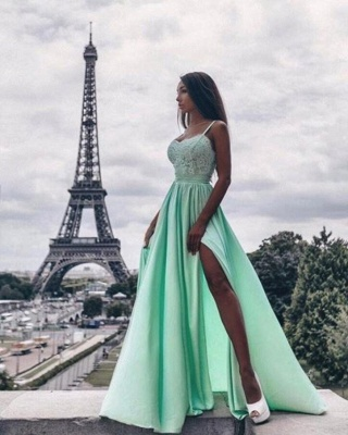 Elegant Green Evening Dresses Long Cheap Späghetti Straps Evening Wear With Lace_1